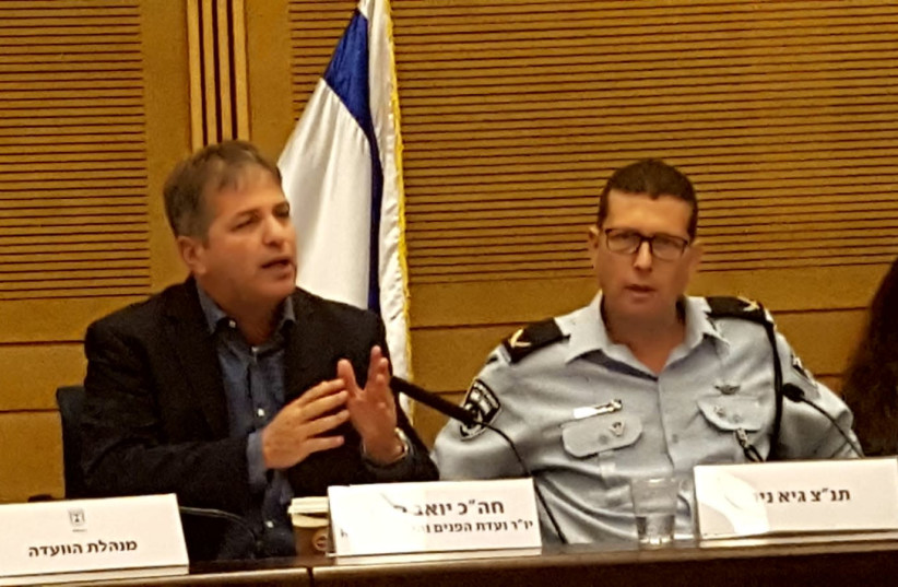 Picture of Yoav Kish (left) and Guy Nir (right) at Knesset's Internal Affairs Committee on Monday (photo credit: Courtesy)