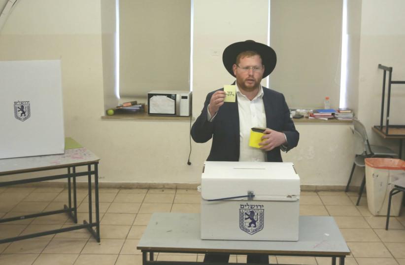 Haredi resident votes Ofer Berkovitch in Jerusalem election. (photo credit: MARC ISRAEL SELLEM)