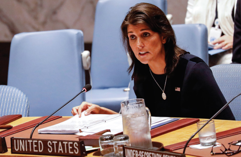 US AMBASSADOR to the United Nations Nikki Haley speaks during a United Nations Security Council meeting in September. (photo credit: REUTERS)