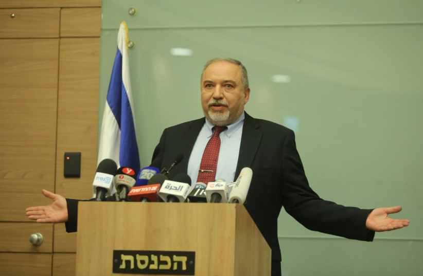 Defense Minister Avigdor Liberman announces his departure, November 14, 2018 (photo credit: MARC ISRAEL SELLEM/THE JERUSALEM POST)