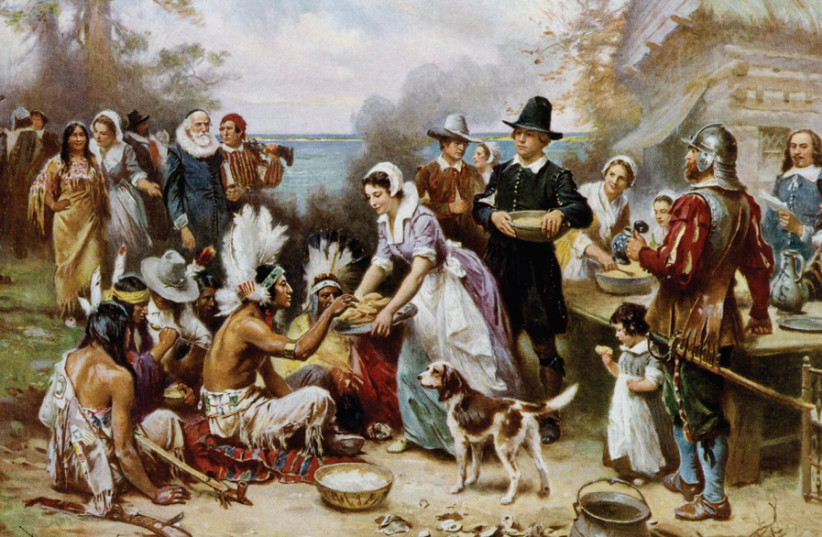 'The First Thanksgiving 1621,' oil on canvas by Jean Leon Gerome Ferris, 1899. (photo credit: Wikimedia Commons)