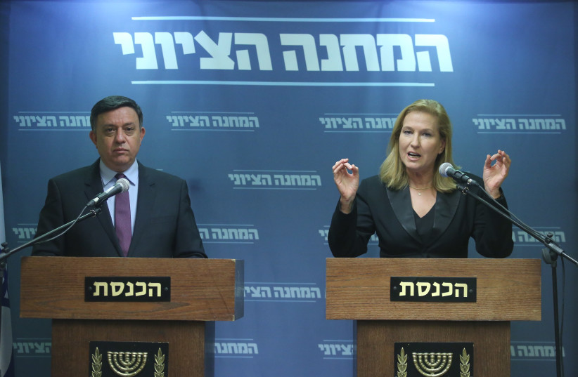 Zionist Union leader Avi Gabbay [L] and Leader of the Opposition Tzipi Livni [R].  (photo credit: MARC ISRAEL SELLEM)