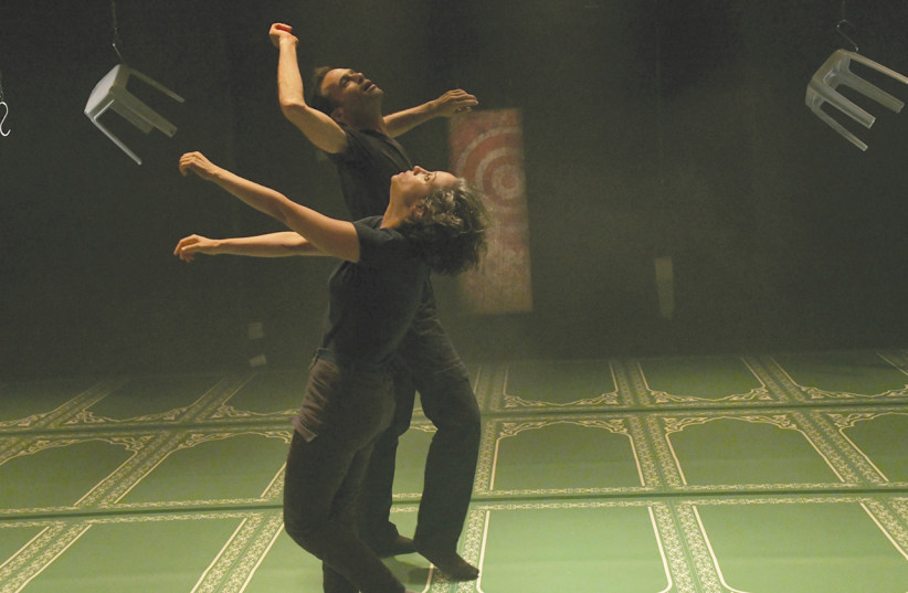"""""""THIRTEEN FRAGMENTS"""" takes apart the 1994 Cave of the Patriarchs massacre, performed by choreographer Abigail Rubin and dancer Ran Ben-Dror (photo credit: Courtesy)"""