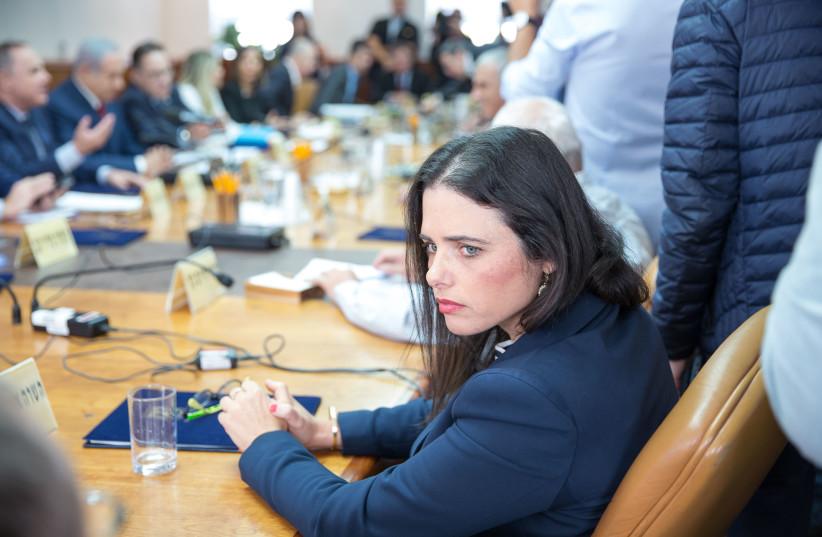 Ayelet Shaked at a weekly cabinet meeting, November 18, 2018 (photo credit: EMIL SALMAN/POOL)