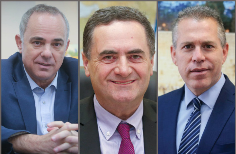 Energy Minister Yuval Steinitz, Transportation and Intelligence Minister Israel Katz, Public Security Minister Gilad Erdan (photo credit: MARC ISRAEL SELLEM/THE JERUSALEM POST)