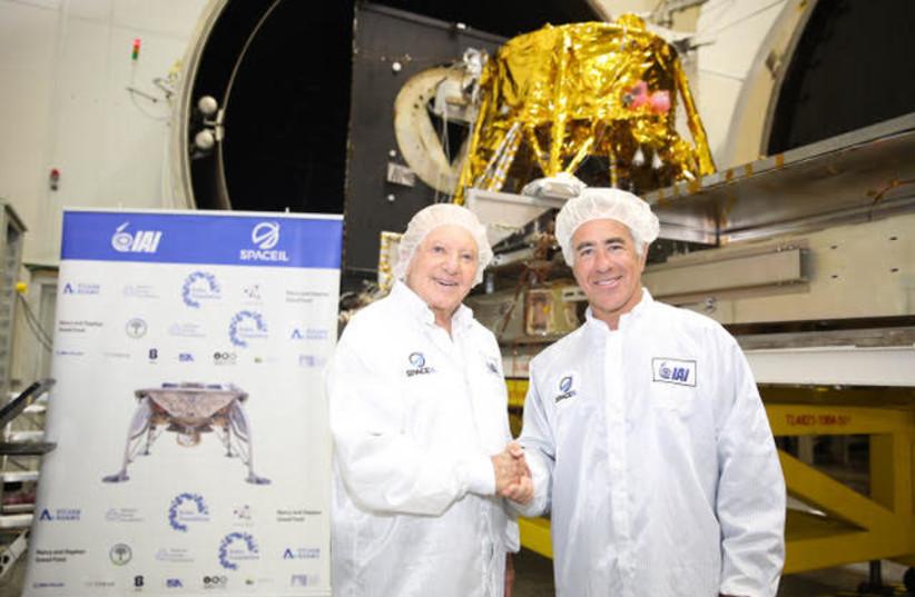 President of SpaceIL Morris Kahn with Canadian-Israeli businessman Sylvan Adams at IAI's MBT Space Divisio (photo credit: ELIRAN AVITAL)