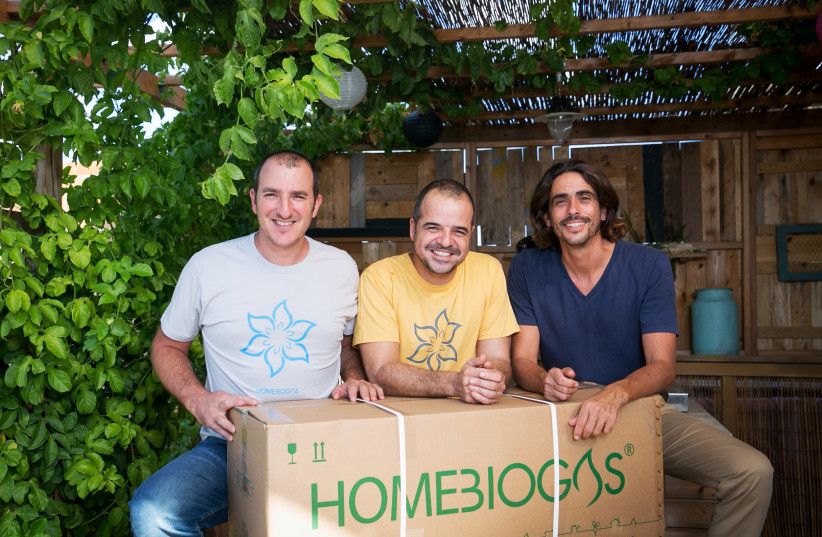 HomeBiogas co-founders (left to right): Chief financial officer Erez Lanzer, chief executive Oshik Efrati and chief scientist Yair Teller (photo credit: PR)