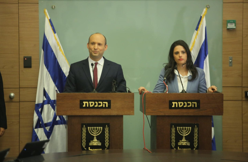 Naftali Bennett and Ayelet Shaked address the media, November 19, 2018 (photo credit: MARC ISRAEL SELLEM/THE JERUSALEM POST)