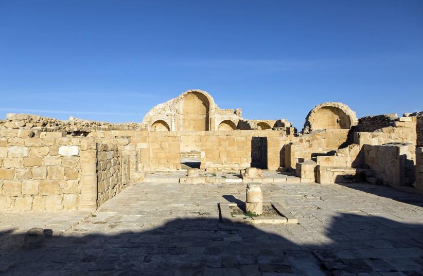 Site of newly-discovered Jesus image at the Byzantine site of Shivta (photo credit: HAIFA UNIVERSITY)