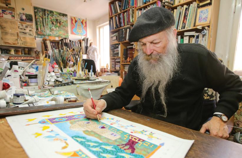 ARTIST BARUCH NACHSHON painting in his studio. (photo credit: BARUCH NACHSHON)
