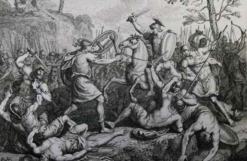 'JOSHUA FIGHTING Amalek,' print from the Phillip Medhurst Collection of Bible illustrations at St. George's Court. (photo credit: Wikimedia Commons)