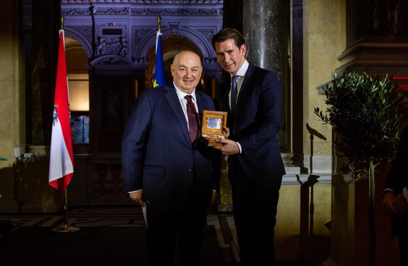 On Tuesday, at a gala dinner in Vienna's Natural History Museum, co-hosted by the Chancellor and the EJC, Dr. Kantor awarded the 'Navigator of Jerusalem' Prize to Chancellor Sebastian Kurz for his commitment to the issues of antisemitism and Jewish security and for ensuring these are among the prior (photo credit: COURTESY OF EJC)