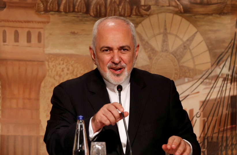 Iranian Foreign Minister Mohammad Javad Zarif speaks during a news conference in Istanbul, Turkey, October 30, 2018 (photo credit: MURAD SEZER/REUTERS)
