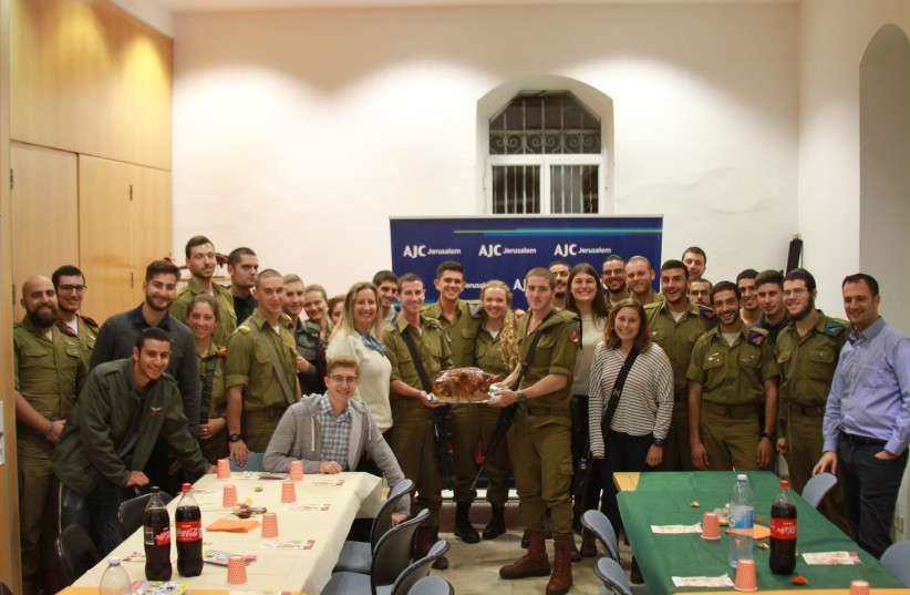 AJC Jerusalem hosted its 16th annual Thanksgiving Dinner for Lone Soldiers (photo credit: AJC)