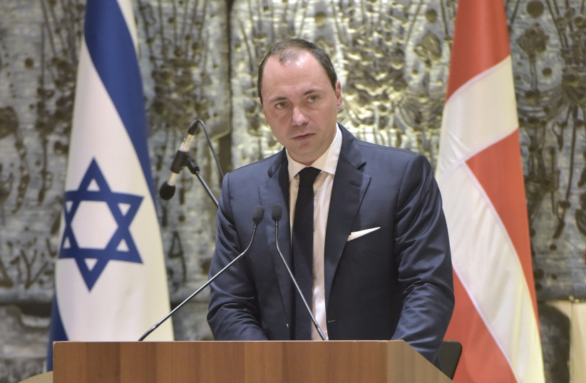 Danish Minister for Higher Education and Science Tommy Ahlers speaks at the President's Residence during his visit to Israel  (photo credit: YOSSI ZWECKER)