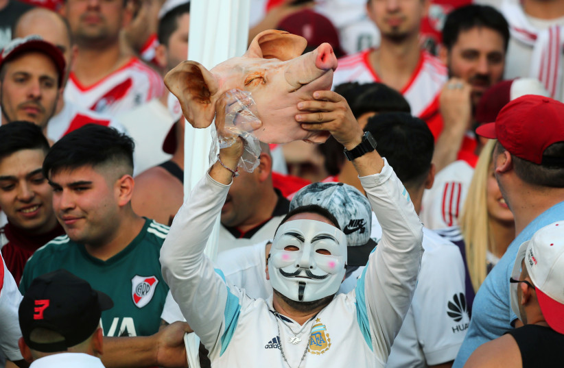 River Plate's fans inside the stadium, November  (photo credit: MARCOS BRINDICCI/REUTERS)