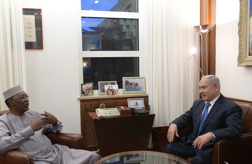 Prime Minister Benjamin Netanyahu meets with Chad President  Idriss Déby in Jerusalem in November 25, 2018 (photo credit: AMOS BEN GERSHOM, GPO)