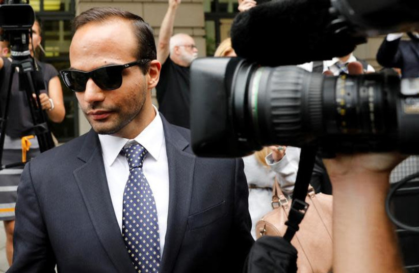 Former Trump campaign aide George Papadopoulos leaves after his sentencing hearing at U.S. District Court in Washington, U.S., September 7, 2018 (photo credit: REUTERS/YURI GRIPAS)