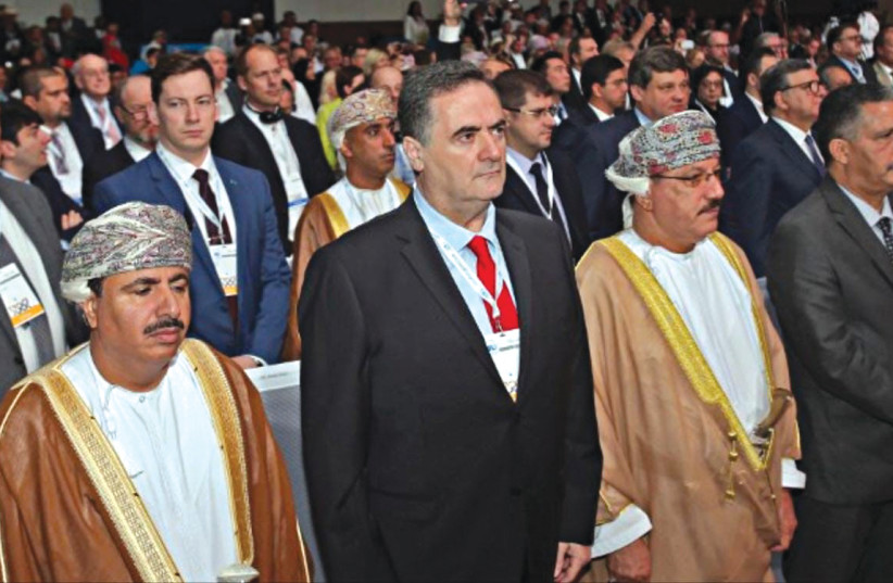 TRANSPORTATION AND Intelligence Minister Israel Katz in Oman earlier this month.  (photo credit: Courtesy)