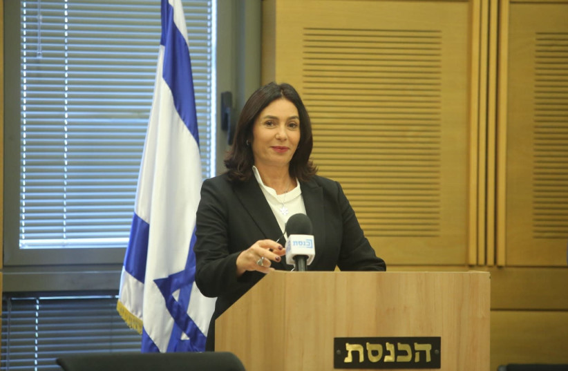 Miri Regev talks about cultural loyalty bill at press conference. (photo credit: MARC ISRAEL SELLEM)
