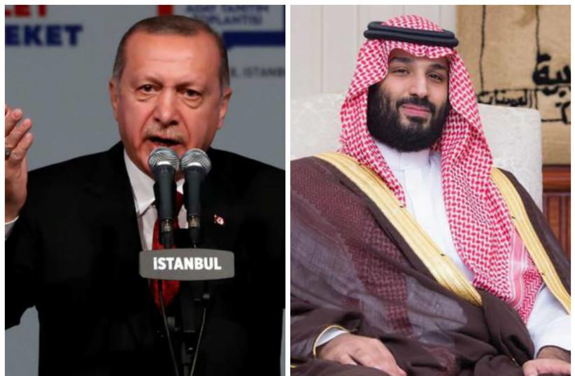 Turkish President Tayyip Erdogan (L) and Saudi Prince Mohammed bin Salman (R) (photo credit: REUTERS/MURAD SEZER & BANDAR ALGALOUD/COURTESY OF SAUDI ROYAL COURT/HANDOUT VIA REUTERS)