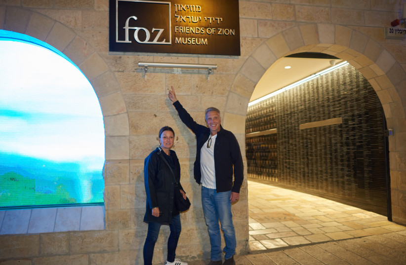 Pastor Young and his wife outside the FOZ Museum in Jerusalem (photo credit: COURTESY FRIENDS OF ZION)