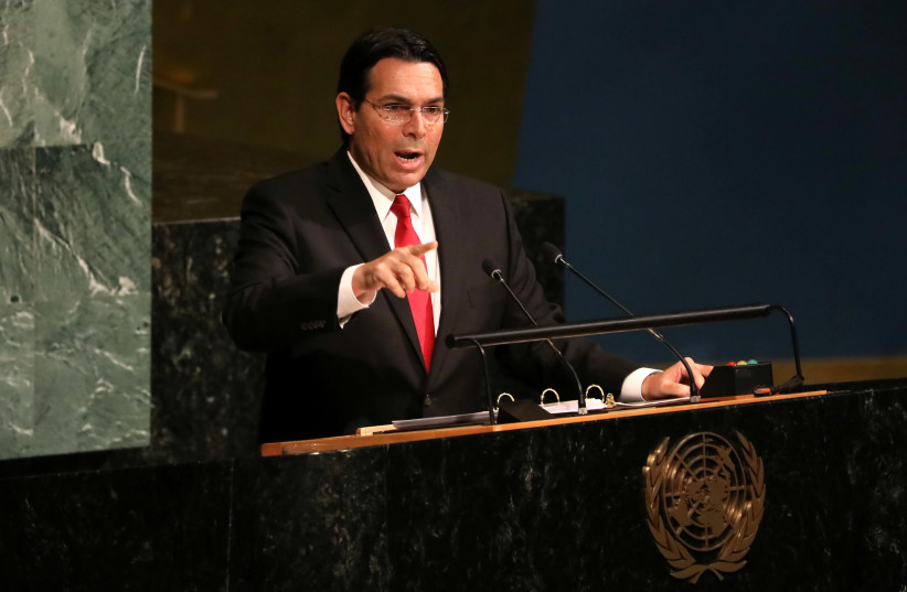 Israeli Ambassador to the United Nations Danny Danon addresses a United Nations General Assembly (photo credit: MIKE SEGAR / REUTERS)