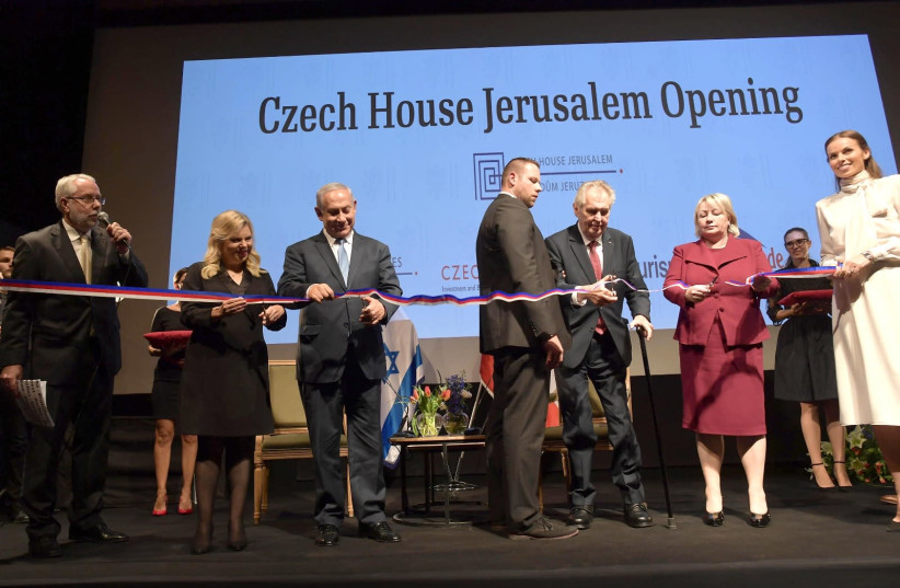 Czech President Milos Zeman and Prime Minister Benjamin Netanyahu at the inauguration of the Czech House in Jerusalem (photo credit: PMO)