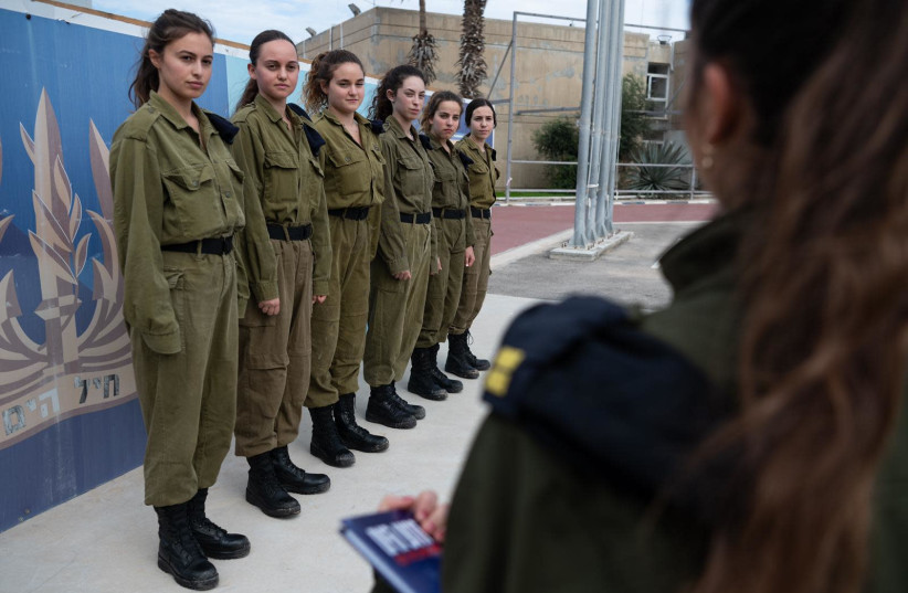 The six female recruits who with serve aboard the Sa'ar missile ship (photo credit: IDF SPOKESPERSON'S UNIT)