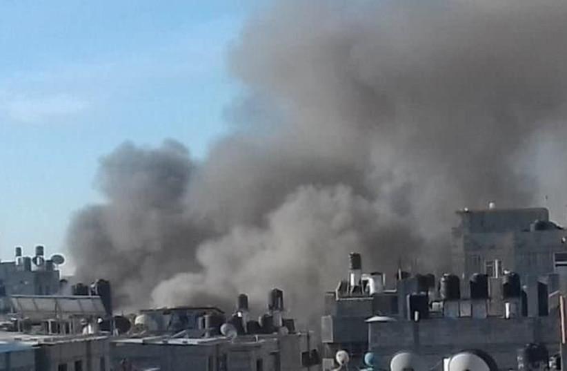 Explosion in Gaza, November 28, 2018 (photo credit: TWITTER)