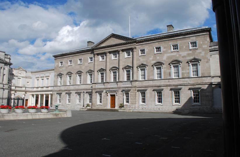 Main façade of Leinster House where the Irish Senate meets (photo credit: COURTESY OF JEAN HOUSEN)