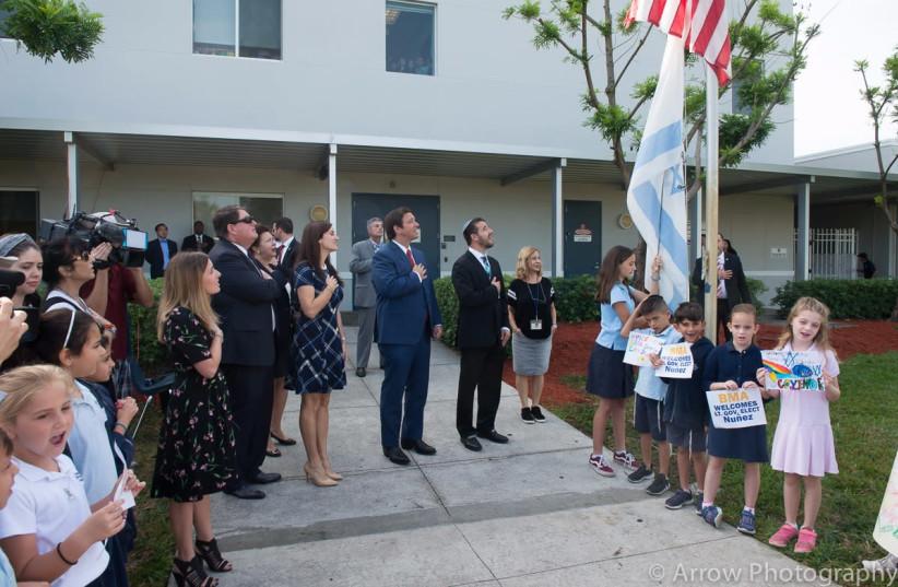 Ron DeSantis visits Brauser Maimonides Academy Jewish Day School, November 2018 (photo credit: COURTESY ARROW PHOTOGRAPHY)