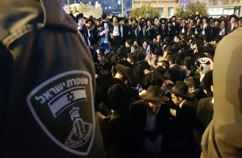 Haredim protesting the draft law in Jerusalem city center (photo credit: MARC ISRAEL SELLEM)