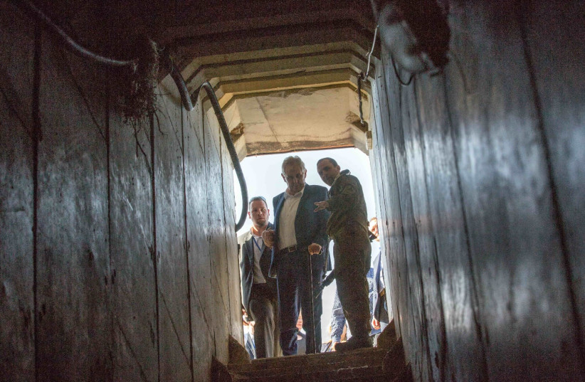 Czech President Milos Zeman views the entrance to a Hamas tunnel during a visit to Israel's Gaza border region, November 29, 2018 (photo credit: AVI HAYUN/FOREIGN MINISTRY)