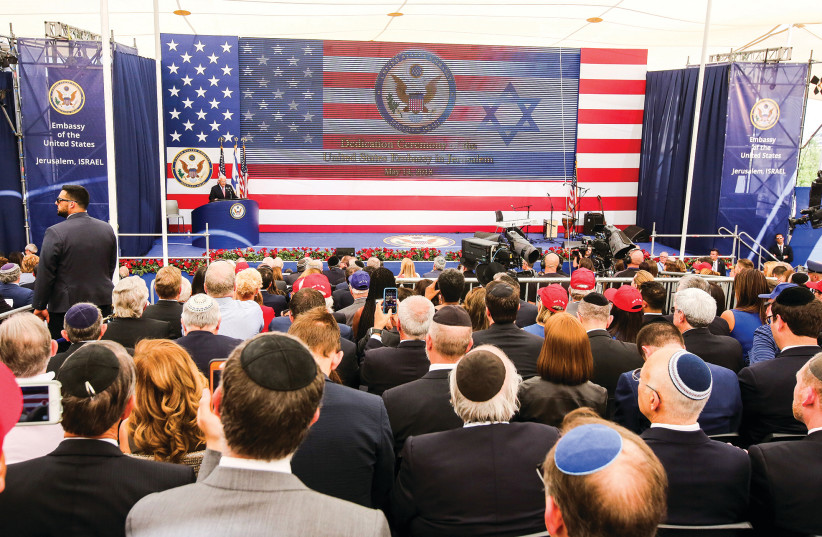 US AMBASSADOR to Israel David Friedman speaks at the opening of the US Embassy in Jerusalem last year. Israel and America share common values and common interests, but the need for the US to be involved in the Middle East does not hinge on what is right or wrong for Israel; it is needed for America (photo credit: MARC ISRAEL SELLEM/THE JERUSALEM POST)