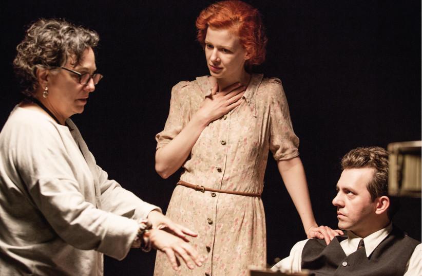 DIRECTOR ROBERTA GROSSMAN with actors Karolina Gruszka (Judyta Ringelblum) and Piotr Głowacki (Emanuel Ringelblum) on set in Poland. (photo credit: ANNA WLOCH)