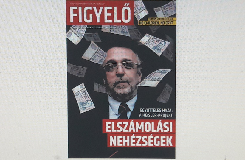 The magazine portraying Andras Heisler in what has been seen as an antisemitic manner (photo credit: Courtesy)