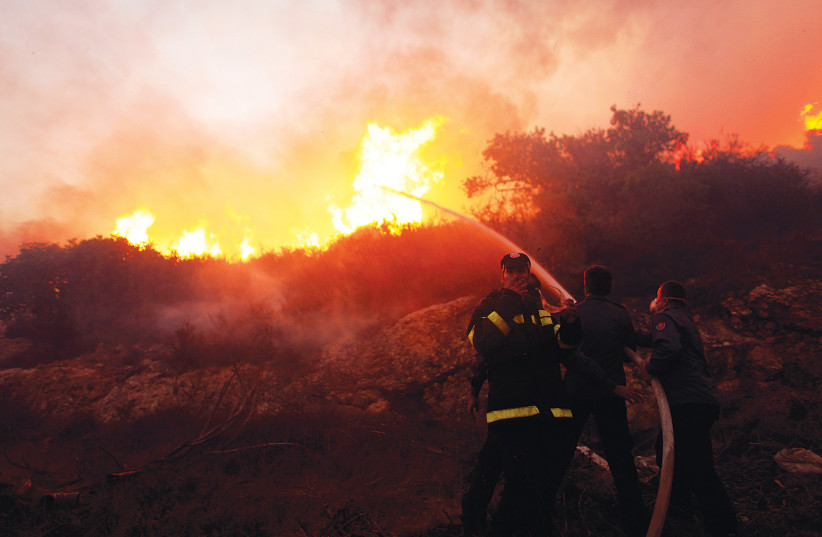 Firefighters try to put out the Carmel forest fire near Haifa in December 2010 (photo credit: NIR ELIAS / REUTERS)