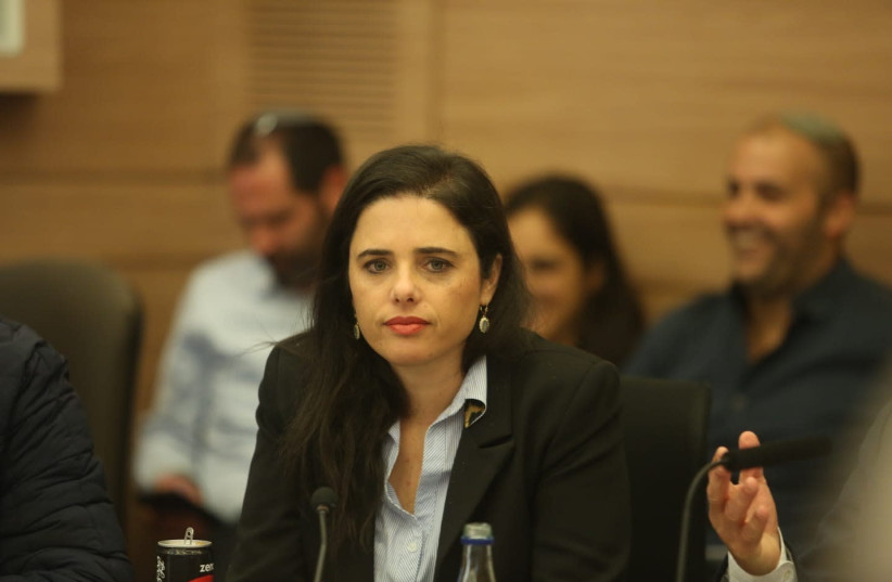 Justice Minister Ayelet Shaked attends a Knesset meeting, December 3rd, 2018 (photo credit: MARC ISRAEL SELLEM/THE JERUSALEM POST)
