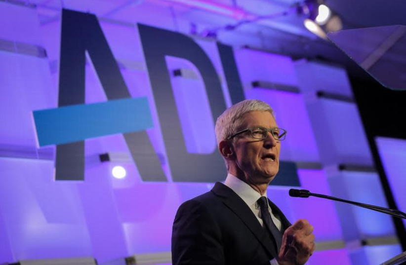 """Apple CEO Tim Cook speaks at the Anti-Defamation League's """"Never is Now"""" summit in New York City, New York, U.S., December 3, 2018 (photo credit: REUTERS/BRENDAN MCDERMID)"""