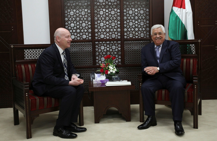 Palestinian President Mahmoud Abbas meets with Jason Greenblatt, U.S. President Donald Trump's Middle East envoy, in the West Bank city of Ramallah, March 14, 2017 (photo credit: MOHAMAD TOROKMAN/REUTERS)