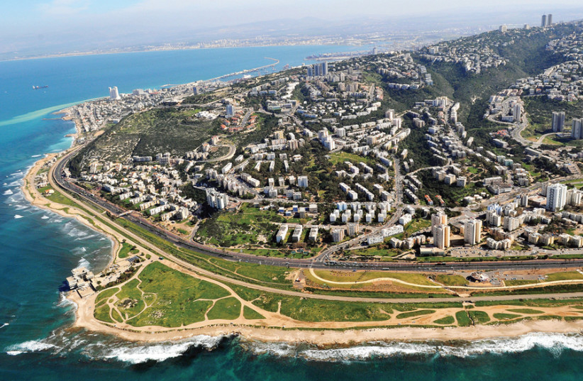A view of western Haifa from the air (photo credit: Wikimedia Commons)
