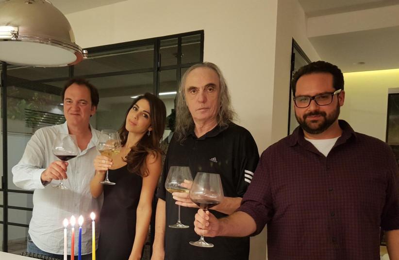 Quentin Tarantino,Daniella Pick and Tzvika Pick celebrate Hannukah in Tel Aviv (photo credit: Courtesy)