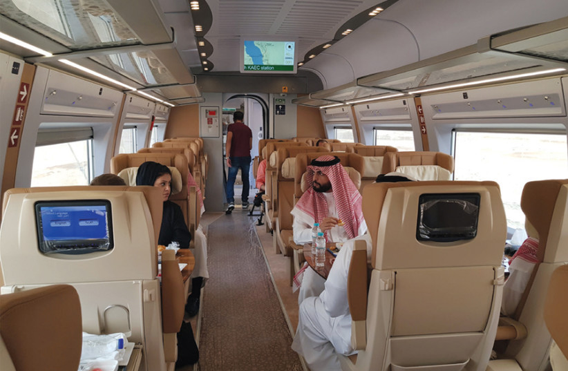 STRONG ECONOMY: Inside the new Haramain high-speed train in Jeddah, Saudi Arabia, on September 18. (photo credit: REUTERS)