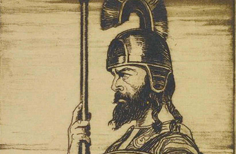 A MAN ready for battle, possibly a Maccabee, holding a shield and spear. (photo credit: JTS/FLICKR)