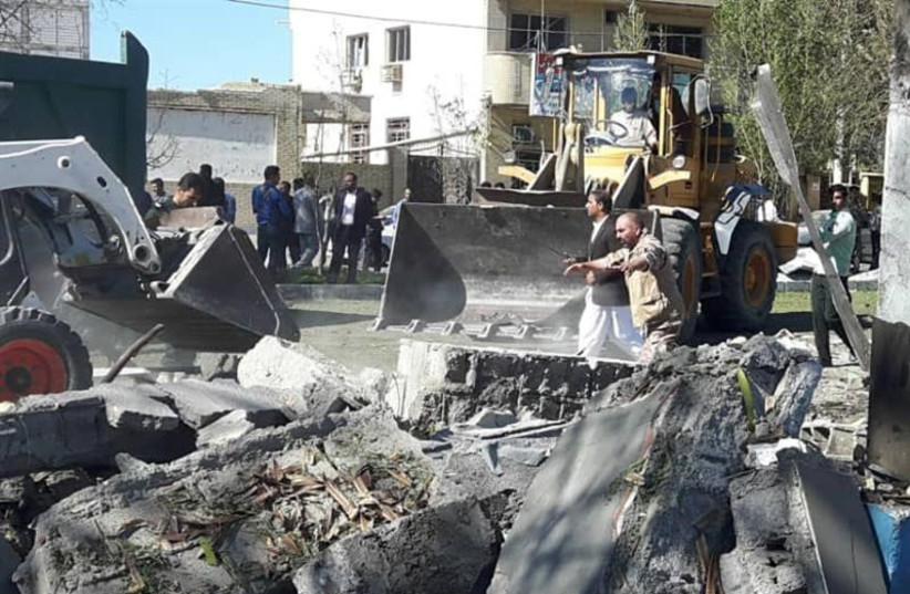 General view of damages after a bomb inside a car exploded outside a police station in Chabahar, Iran December 6, 2018 (photo credit: TASNIM NEWS AGENCY/HANDOUT VIA REUTERS)