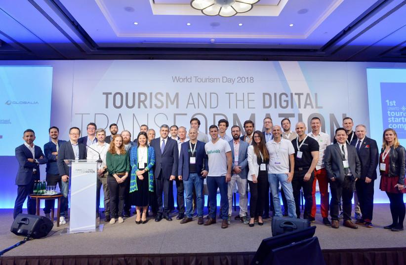 Israeli companies with Zurab Pololikashvili, Secretary-General of the World Tourism Organization, at the start-up competition semi-final (photo credit: UNWTO/WORLD TOURISM DAY 2018)