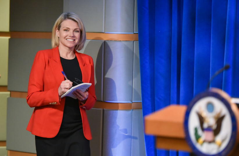 Heather Nauert arrives for the release of the 2017 Annual Report on International Religious Freedom on May 29, 2018, in the Press Briefing Room at the US Department of State in Washington, DC (photo credit: MANDEL NGAN / AFP)