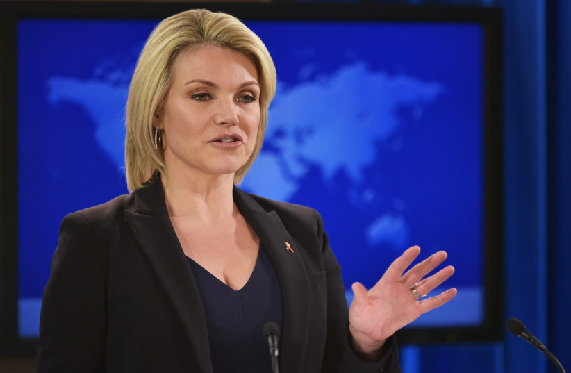 Heather Nauert speaks during a briefing at the State Department in Washington, DC, November 30th, 2017 (photo credit: MANDEL NGAN / AFP)