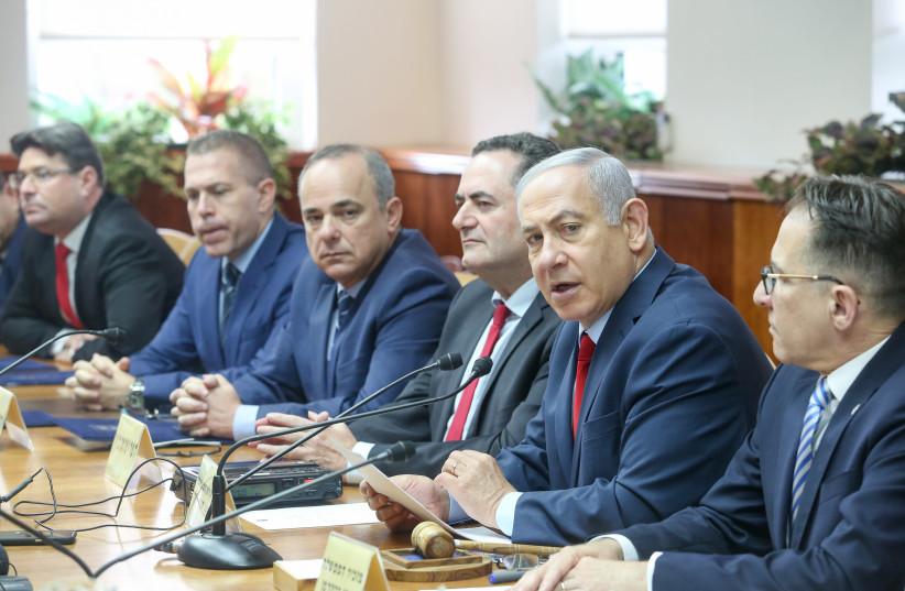 Prime Minister Benjamin Netanyahu speaks at a cabinet meeting, December 9th, 2018 (photo credit: MARC ISRAEL SELLEM/THE JERUSALEM POST)